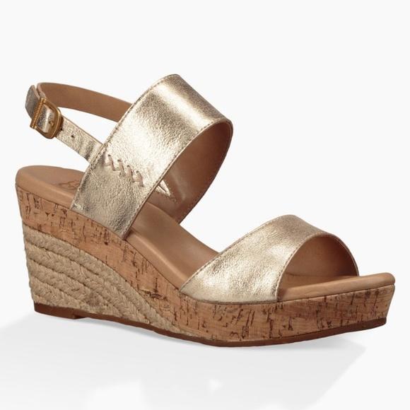 2ffdc0c3772 Ugg women's Elena metallic wedge sandals Sz 12 NWT